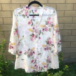 🌻 Promod Floral button down tunic top